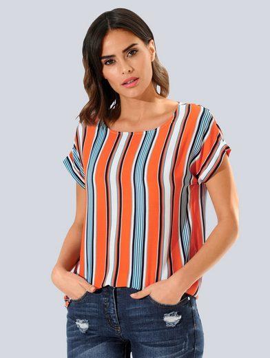 Alba Moda Shirtbluse in schönem Streifenprint allover