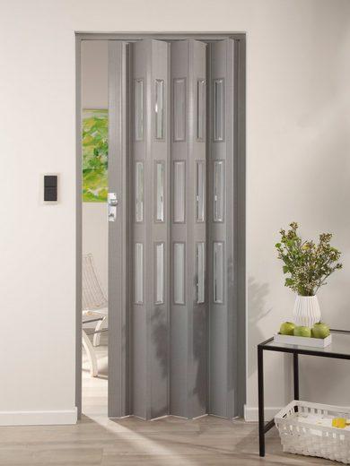 Kunststoff-Falttür »Elvira«, Höhe nach Maß, grau gewebt mit Cristall Fenstern