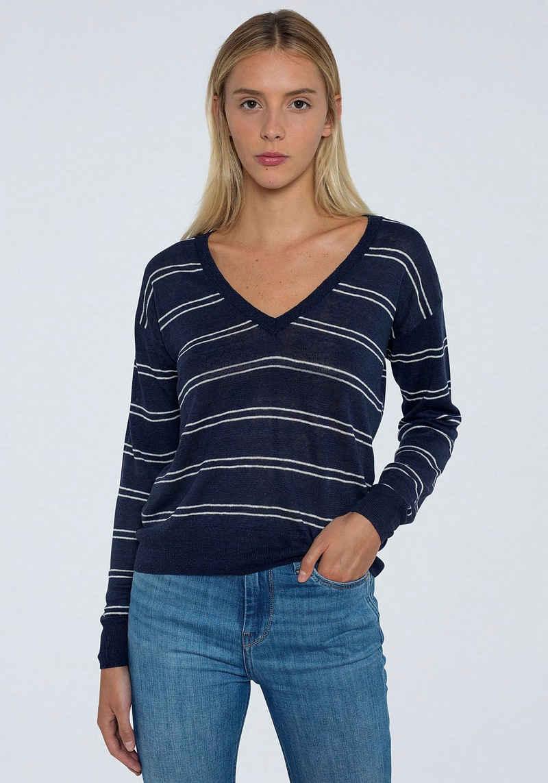 Pepe Jeans V-Ausschnitt-Pullover »ALEXANDRA« mit tiefem V-Ausschnitt in gestreifter Optik