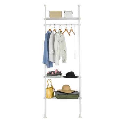 SoBuy Kleiderständer »KLS07«, Teleskopstange Verstellbares Garderobenstände mit 1 Kleiderstange und 3 Ablagen