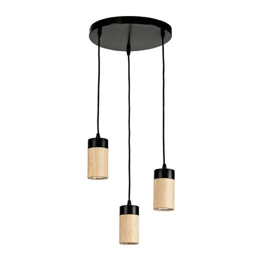 BRITOP LIGHTING Pendelleuchte »ANNICK«, Hängeleuchte, Aus edlem Eichenholz und Metall, mit Textilkabel, LED-Leuchtmittel inkl., Made in Europe