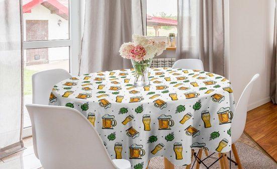 Abakuhaus Tischdecke »Kreis Tischdecke Abdeckung für Esszimmer Küche Dekoration«, Bier Alkohol zu trinken Tassen und Gläser