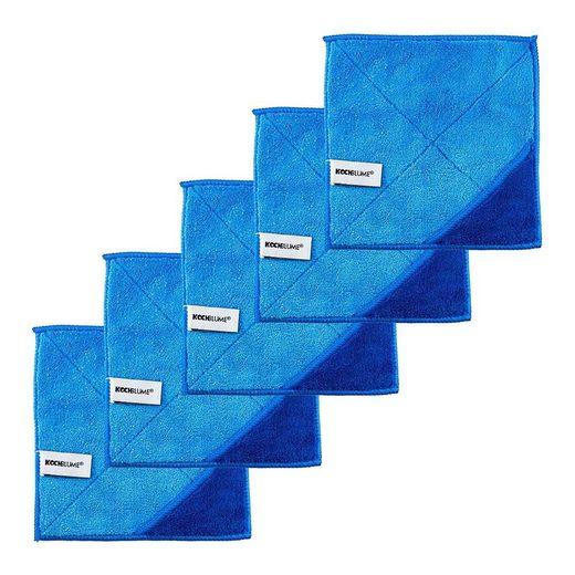 Kochblume Geschirrtuch »Microfasertuch 18 x 18 cm«, (Spar-Set, 5-tlg), 800g/m² Qualtität