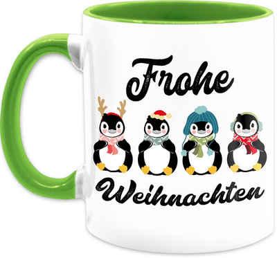 Shirtracer Tasse »Frohe Weihnachten - Pinguine - schwarz - Weihnachtstasse - Tasse zweifarbig«, Keramik