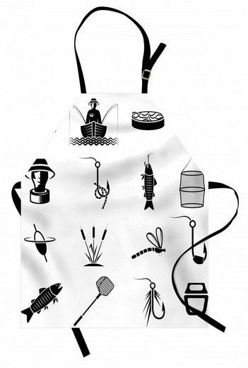 Abakuhaus Kochschürze »Höhenverstellbar Klare Farben ohne verblassen«, Angeln Theme Haken Fisch und Ruten