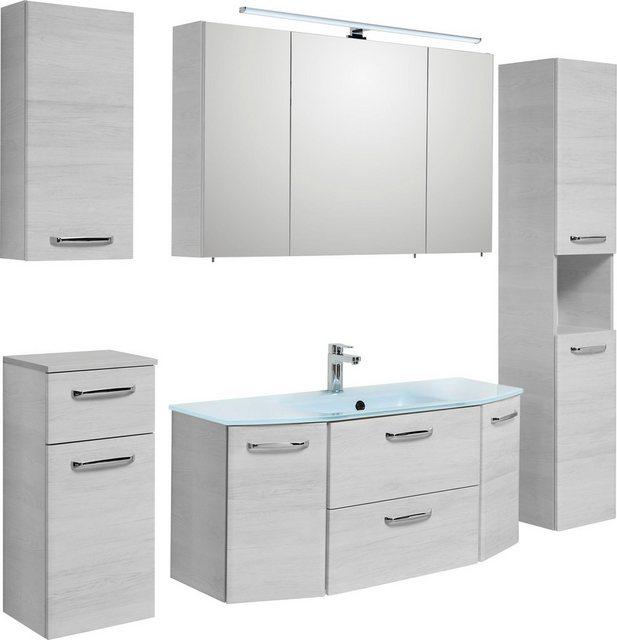 Badezimmer Sets - PELIPAL Badmöbel Set »Amora«, (Set, 5 St), Spiegelschrank inkl. LED Beleuchtung, Waschtisch Kombination mit Glasbecken, Metallgriffe, Türdämpfer  - Onlineshop OTTO