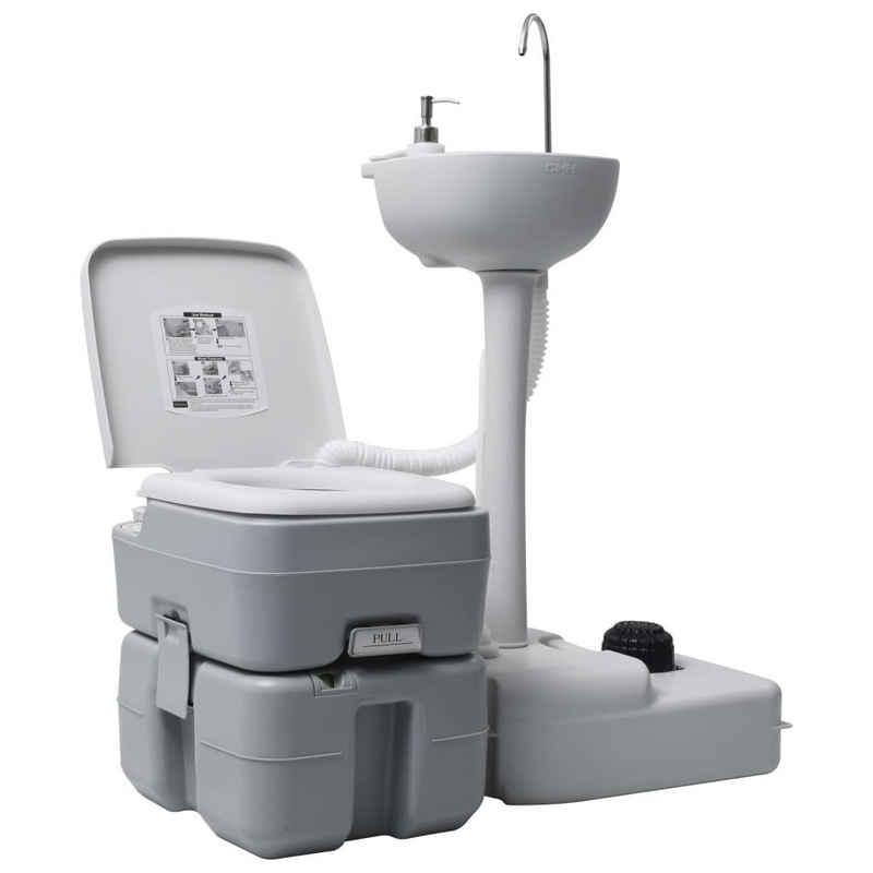 vidaXL Campingtoilette »vidaXL Campingtoilette und Handwaschbecken Set Tragbar Grau«