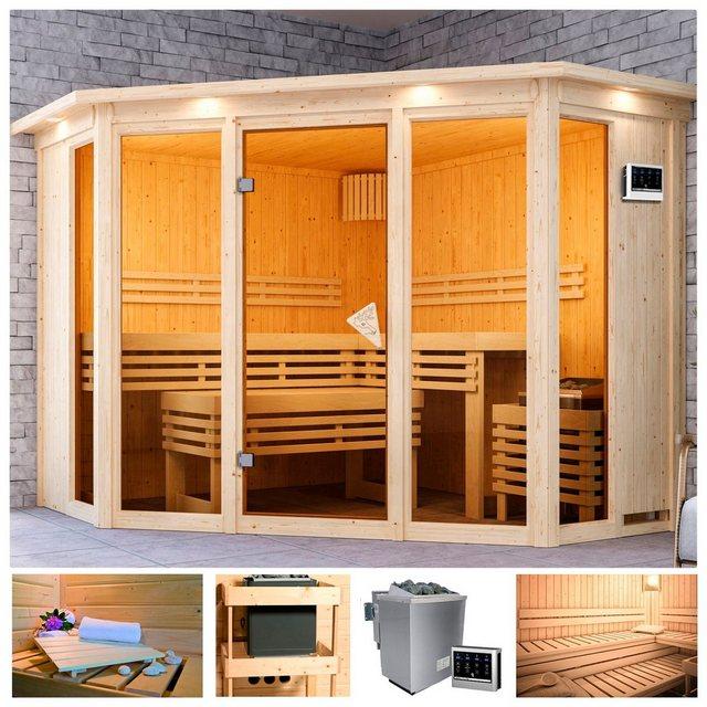 Saunen und Zubehör - KARIBU Sauna »Akiko 2«, 245x245x202 cm, 9 kW Bio Ofen mit ext. Steuerung, Dachkranz  - Onlineshop OTTO