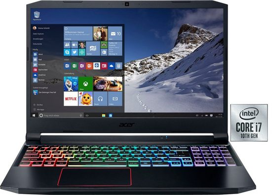 Acer Nitro 5 Notebook (39,62 cm/15,6 Zoll, Intel Core i7, RTX 2060, - GB HDD, 1000 GB SSD, inkl. Office-Anwendersoftware Microsoft 365 Single im Wert von 69 Euro)