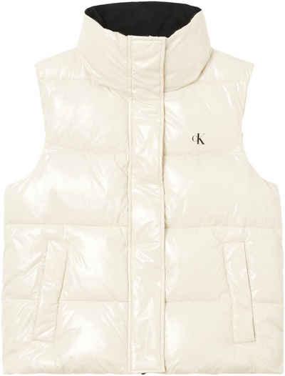Calvin Klein Jeans Steppweste »MW HIGH SHINE PUFFER VEST« mit hohem Stehkragen & CK Logo-Monogramm