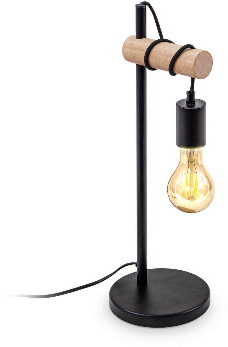 B.K.Licht Tischleuchte, Tischlampe 1 flammige Vintage Industrial Design Retro Lampe Stahl Holz Rund E27 ohne Leuchtmittel