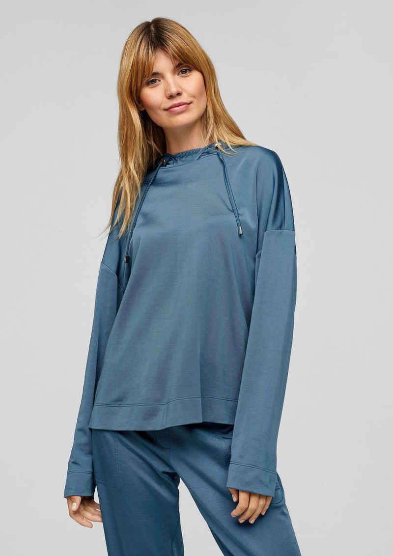 s.Oliver BLACK LABEL Sweatshirt »Hoodie mit Satinblende« (1-tlg) Blende, Durchzugkordel