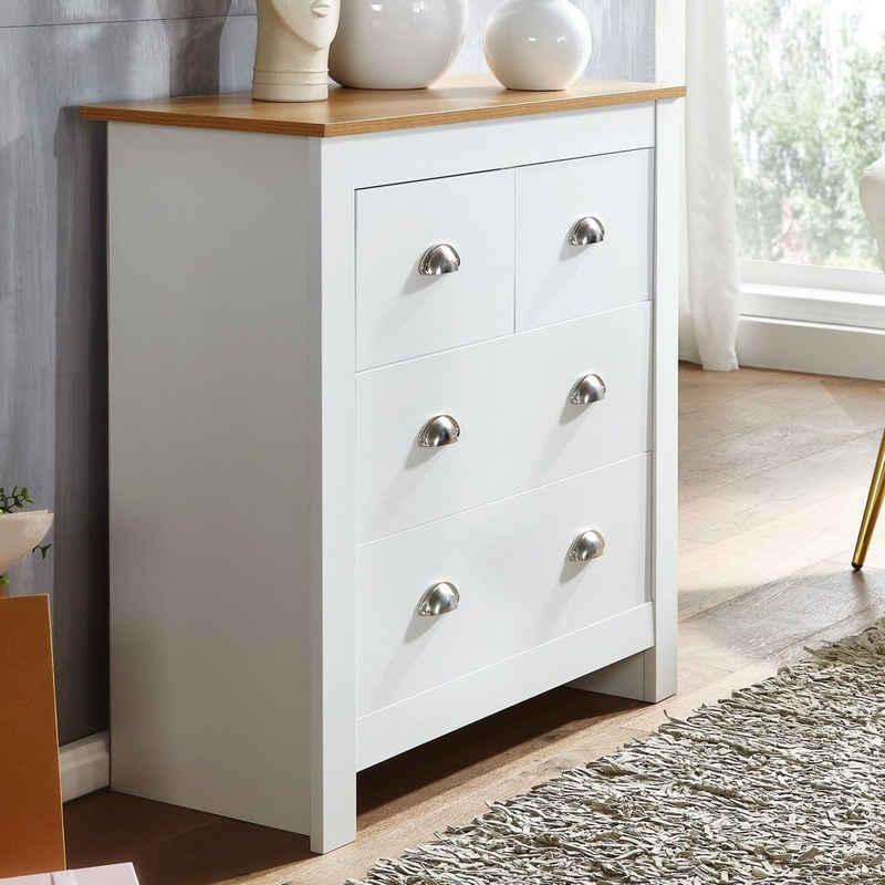 FINEBUY Sideboard »FB71471«, mit 4 Schubladen 79x81x35 cm Kommode Weiß / Eiche Modern, Design Anrichte Hoch, Schubladenkommode Wohnzimmer