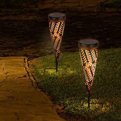 wuuhoo Gartenfackel »Nahla mit LED und Solar aus Metall«, in Kegelform I Dekoratives Licht für Außen I Wetterfest