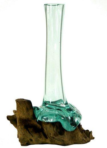 Guru-Shop Dekovase »Vase aus Recycelingglas, Glasvase Wurzelholz -..«