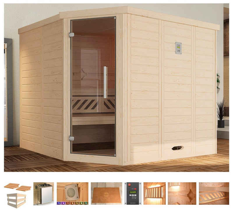 weka Sauna »Brevik 2«, BxTxH: 245 x 195 x 199 cm, 45 mm, 7,5 kW Bio-Kombiofen mit ext. Steuerung