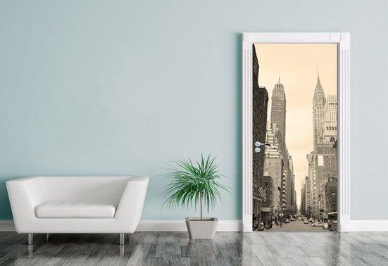Bilderdepot24 Türtapete, Türaufkleber Manhattan Street View, selbstklebendes Vinyl