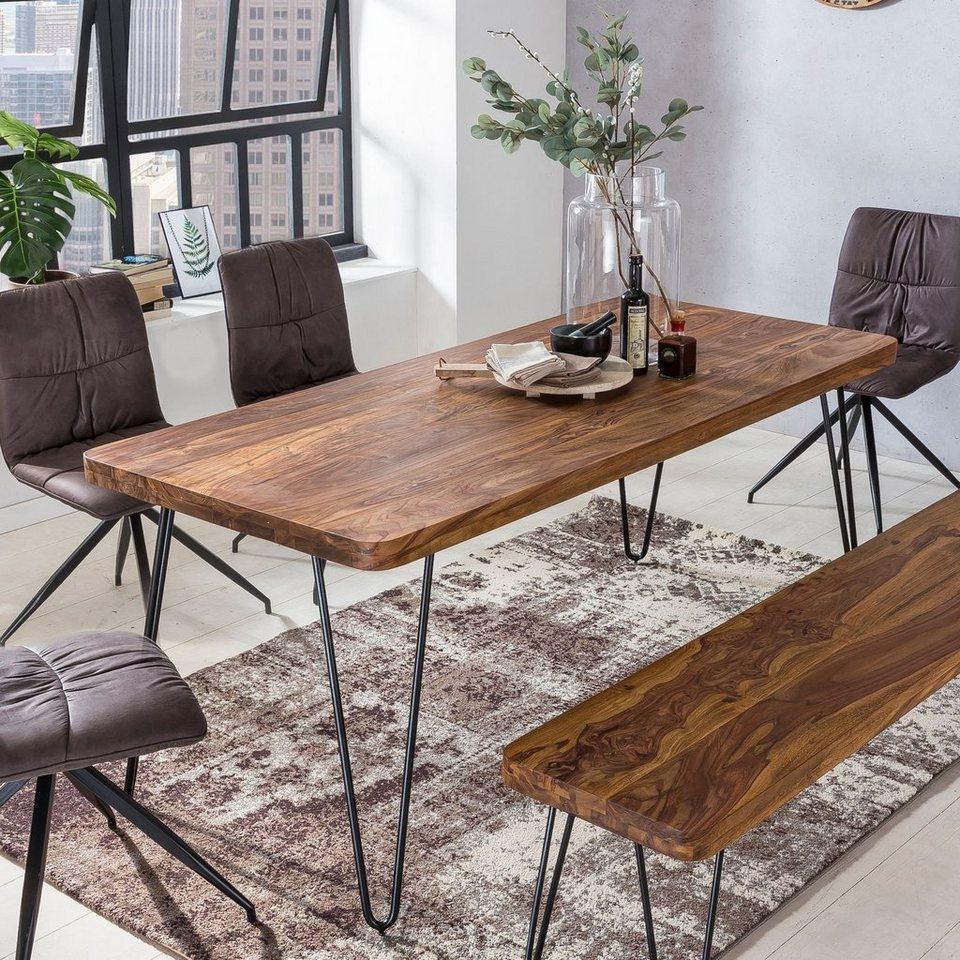 FINEBUY Esstisch »SuVa48_48«, Massiver Esstisch HARLEM Sheesham Massiv  Holz Esszimmertisch Massivholz mit Design Metall Beinen Holztisch Tisch