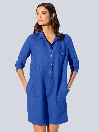Alba Moda Hemdblusenkleid aus hochwertiger, reiner Leinenqualität