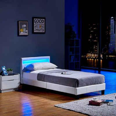 HOME DELUXE Bett »LED Bett Astro« (Set, 2-St., Bett und Lattenrost), extra großes gepolstertes Kopfteil