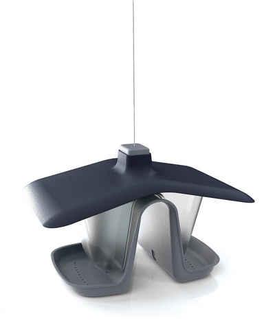 BigDean Vogelhaus »Birdy Feed Double − Vogelfutterhaus für kleine Wildvögel − Vogelfutterspender aus Kunststoff − Schwarz/grau − Mit Stahlseil zum Aufhängen«