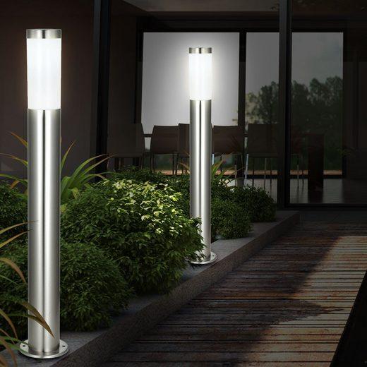 etc-shop LED Außen-Stehlampe, 2er Set Steh Lampe Garten Park Strahler Stand Leuchte Edelstahl im Set inklusive LED Leuchtmittel