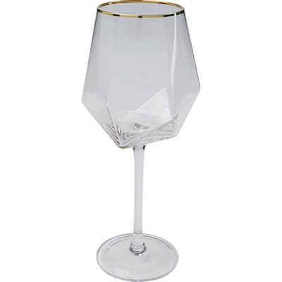 KARE Glas »Weinglas Diamond Gold Rim«, Glas