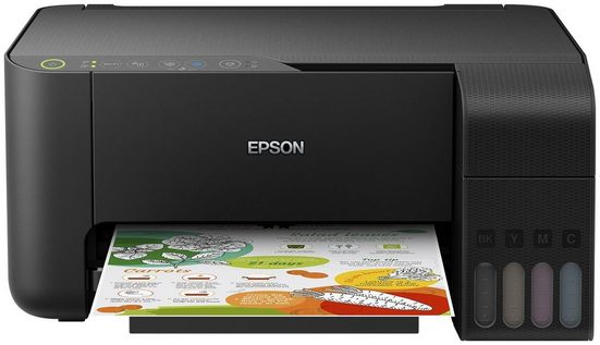 Epson ET-2710 schwarz Multifunktionsdrucker, (WLAN (Wi-Fi), Wi-Fi Direct, Google Cloud Print, Tintenstrahldrucker, 3-in-1, Scanner, Kopierer, USB, WLAN, Wi-Fi Direct, Cloud Print, Drucken ohne Patronen und selten nachfüllen)