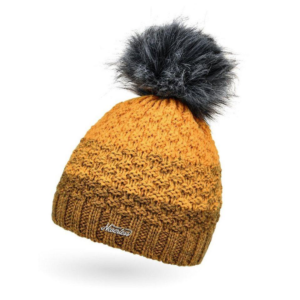 Winter-M/ütze Neverless Damen Strick-M/ütze gef/üttert mit Fell-Bommel Kunstfell Bommelm/ütze