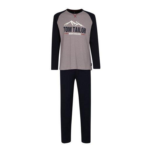 TOM TAILOR Pyjama »Herren Schlafanzug 2-tlg. Set - lang, Rundhals«