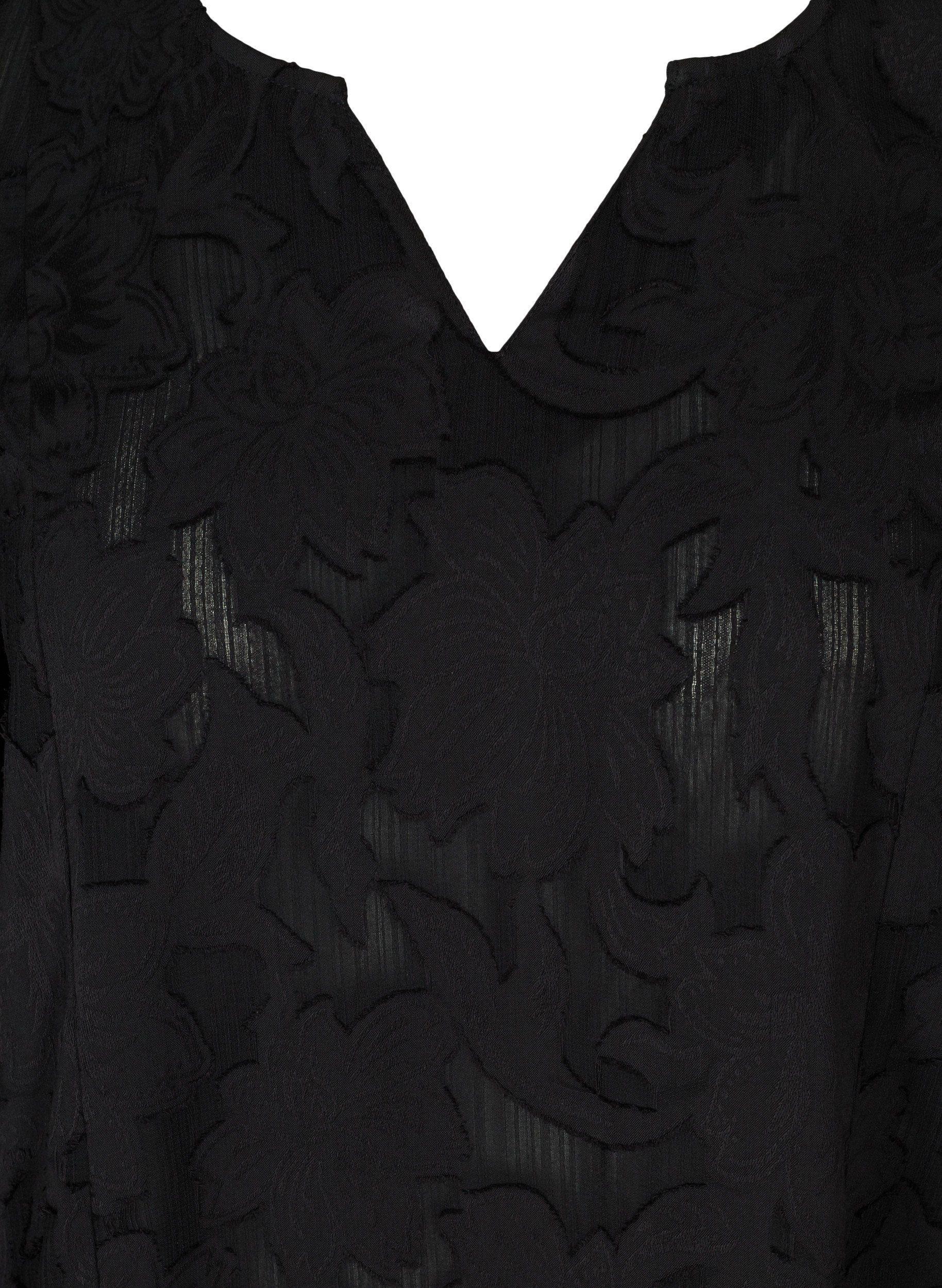 Zizzi Tunika Große Größen Damen Einfarbige Mit Muster Und V Ausschnitt Online Kaufen