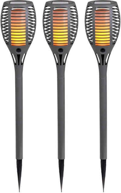 näve LED Gartenfackel »Fackel«, 3er-Set, Flammeneffekt, Dämmerungsschalter