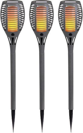 """näve LED Gartenleuchte »LED Erdspieß """"Fackel""""«, 3er-Set, Flammeneffekt, Dämmerungsschalter"""