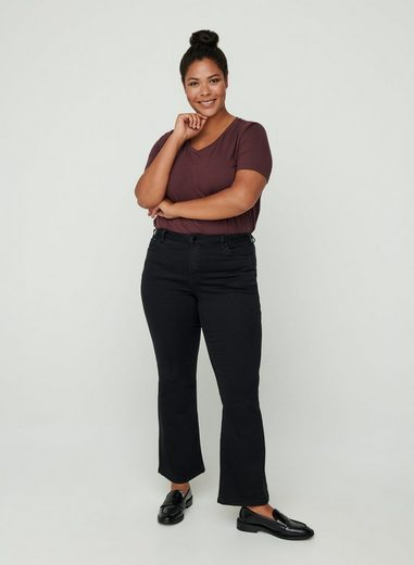 Zizzi Bootcut-Jeans Große Größen Damen Hohe Taille Stretch