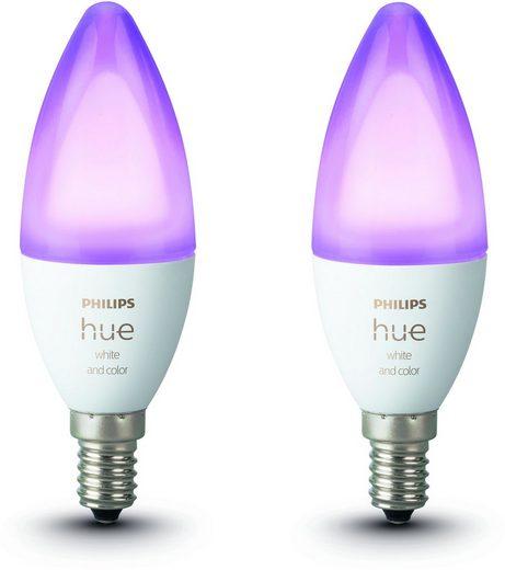 Philips Hue »White & Color Ambiance E14 LED-Lampe« LED-Leuchtmittel, E14, Farbwechsler, Neutralweiß, Tageslichtweiß, Warmweiß, Extra-Warmweiß, Smarte E14 LED-Lampen in Kerzenform, Lichtsteuerung per Bluetooth oder Hue Bridge, Auswahl aus 16 Mio. Farben, Stufenloses Dimmen