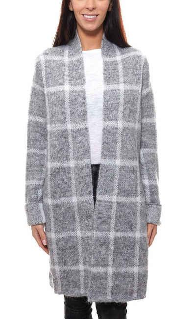 Olsen Cardigan »olsen Strick-Jacke weicher Damen Long-Cardigan mit umgeschlagenem Ärmelsaum Grobstrick-Jacke Grau«