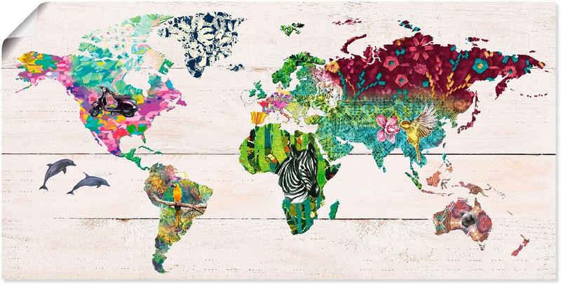 Artland Wandbild »Bunte Welt auf hölzernem Untergrund«, Landkarten (1 Stück), in vielen Größen & Produktarten -Leinwandbild, Poster, Wandaufkleber / Wandtattoo auch für Badezimmer geeignet
