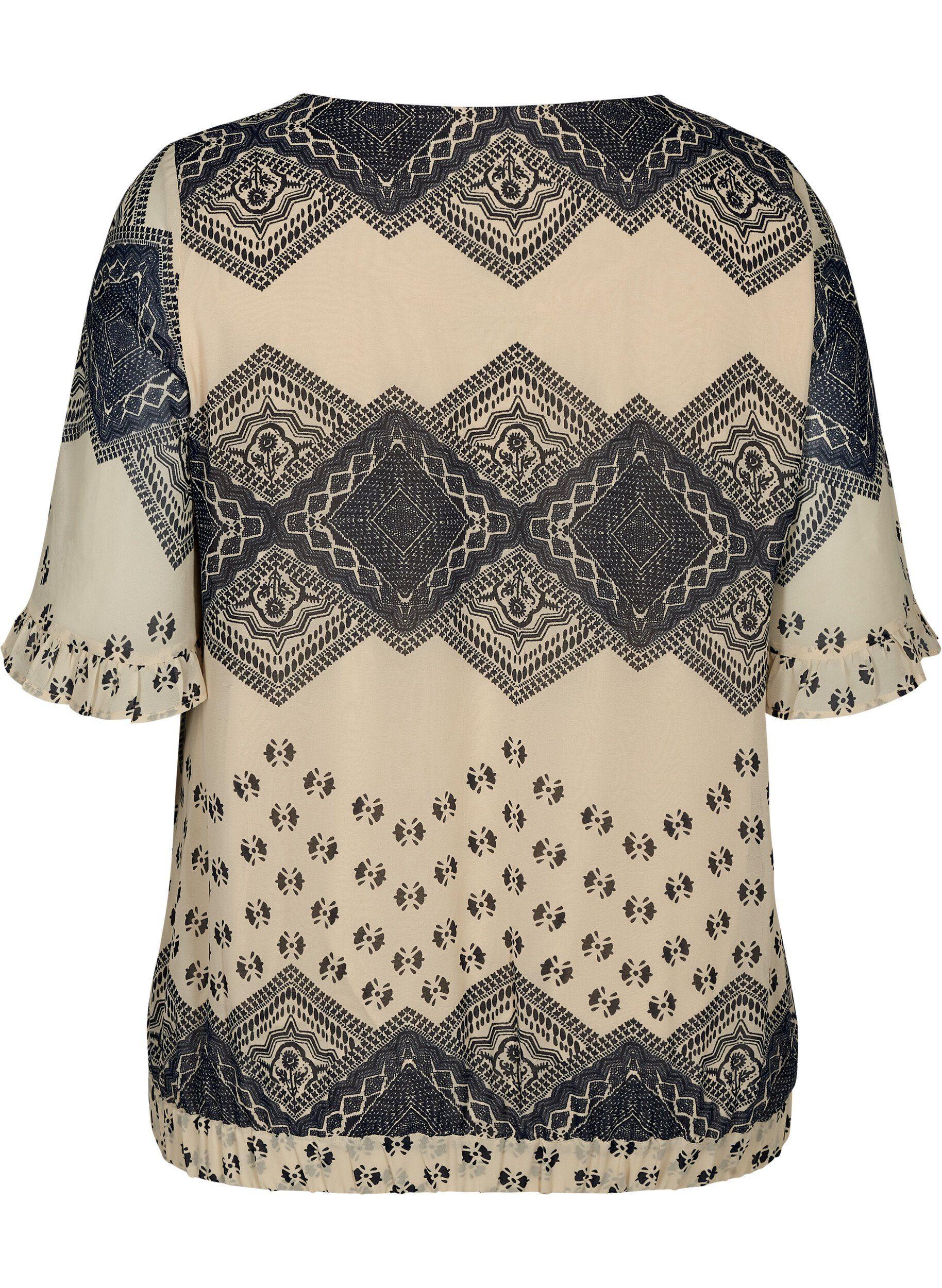 ZAY Kurzarmbluse Große Größen Damen Kurzarm Bluse mit Print und Rüschen