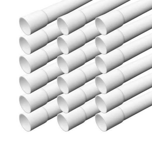 ARLI Kabelkanal »Elektrorohr Kabelrohr M16 Stangenrohr Leerrohr PVC gemufft Installationsrohr 16 mm Rohr 1m Kanal Set« (18 meter / 18 Kabelrohre, 18-St), Einseitig gemufft