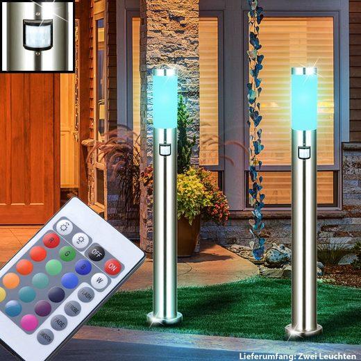 etc-shop LED Außen-Stehlampe, 2er Set Steh Außen Strahler Sensor Dimmer Park Leuchte Fernbedienung im Set inklusive RGB LED Leuchtmittel