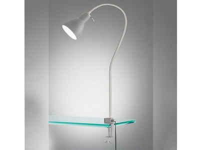FISCHER & HONSEL LED Klemmleuchte, Leselampe Kopfteil Bett & Sofa zum Klemmen - Bettleuchte Schlafzimmer-Lampe Nachttisch & Leselicht Couch, Ausführung Grau