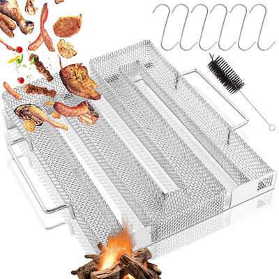 Favson Räucherbox »Kaltrauchgenerator, Kaltrauch Kaltraucherzeuger, Cold Smoke Generator, Meat Smoker, Food Smoker und BBQ Grill Zubehör mit Bürste und Haken für Kugelgrill BBQ Räucherofen (22,5 x 17,5 x 4,5 cm)«