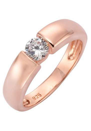 Firetti Silberring »Spannring-Optik, glänzend rosévergoldet, klassisch«, mit Zirkonia