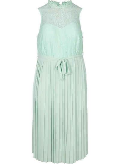 Zizzi Abendkleid Große Größen Damen Spitzenkleid mit Plissee und Rundhals