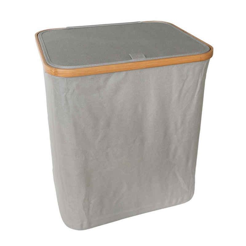 SOSmart24 Wäschekorb »SOSmart24 SO SMART Faltbarer Wäschekorb mit Deckel aus Stoff - Grau - 60 L Volumen - Rahmen aus Bambus - Klappbarer Wäschesammler zusammenklappbar Wäschetonne Wäschesack Wäschetruhe faltbar« (1 Stück)
