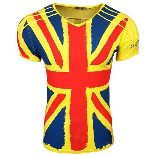 Rusty Neal T-Shirt mit coolem Flaggen-Frontprint