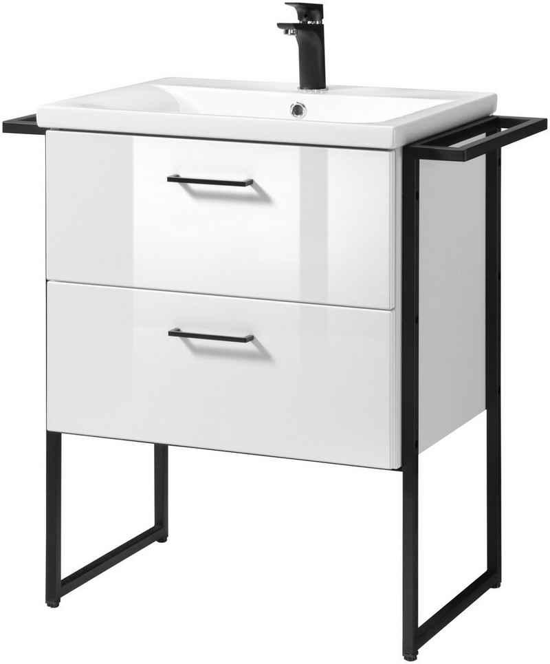 welltime Waschtisch »Trento BLACK«, stehend