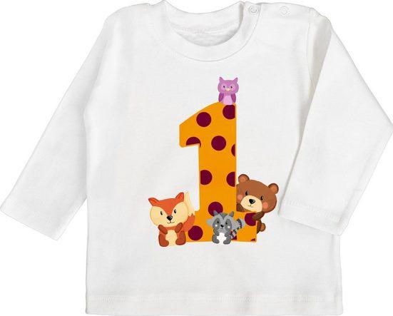 Shirtracer T-Shirt »1. Geburtstag Waldtiere - Baby Geburtstag Geschenk - Baby T-Shirt langarm« Geburtstagsgeschenk Ideen Kleidung Strampler Babykleidung