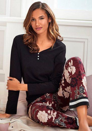 s.Oliver Bodywear Pyjama im Blumen-Dessin mit Streifen-Details