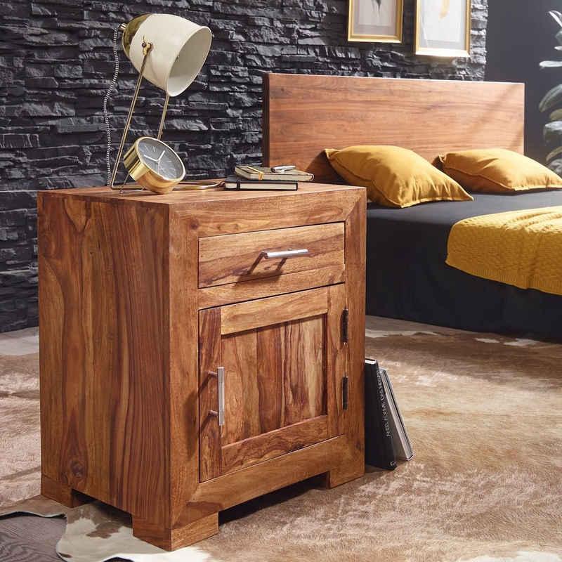 FINEBUY Nachtschrank »SuVa3536_1« Nachttisch Massivholz Nachtkommode H 60 cm x B 50 cm mit Schublade und Tür Nachtschrank für Boxspringbett